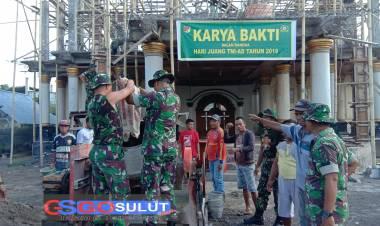 Sambut Hari Juang TNI AD,Matra Darat  di Perbatasan Gelar Karya Bhakti