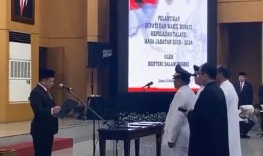 SAH. Mendagri Tito Karnavian lantik Bupati Elly Lasut dan Moktar Parapaga sebagai Bupati dan Wakil Bupati Talaud.