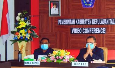 Pemda Talaud Ikuti Penyerahan LHP LKPD TA 2019 Serentak Se-Sulut Via Video Conference