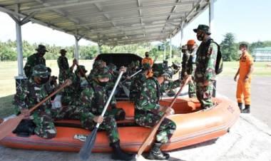 Korem 133/NW Gelar Latihan Drill Teknis Penanggulangan Bencana Banjir