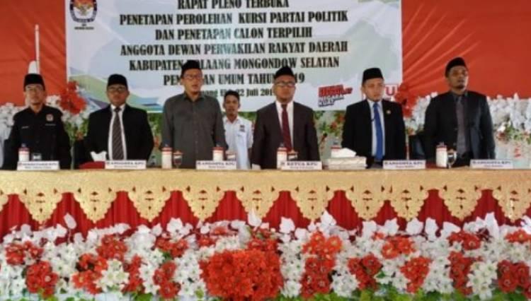 KPU Tetapkan 2O Anggota Dewan Bolsel Periode 2019-2024