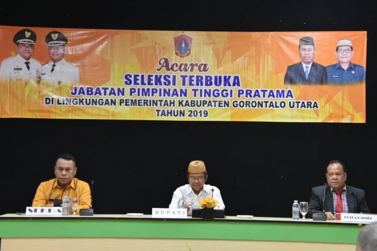 Buka 4 JPTP Pemkab Gorut gelar Seleksi Terbuka, Bupati Hi.Indra Yasin : Selamat Berkompetisi Dengan Fair