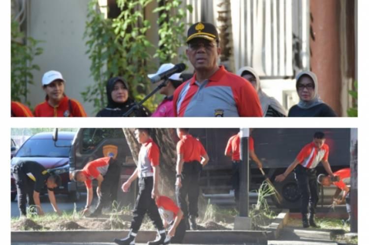 Kapolda Beserta Personel Bersihkan Lingkungan, Antisipasi Corona dan Demam Berdarah