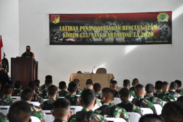 Korem 133/Nani Wartabone Gelar Latihan Penanggulangan Bencana Alam