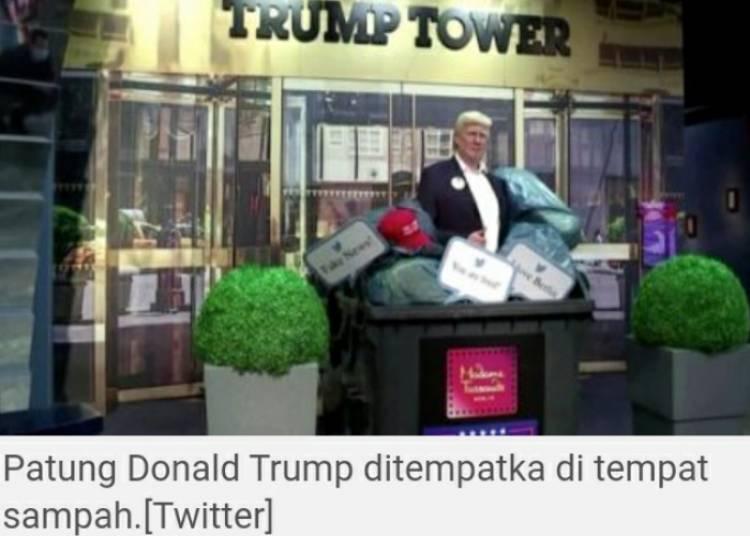 Patung Donald Trump Diletakan Tempat Sampah