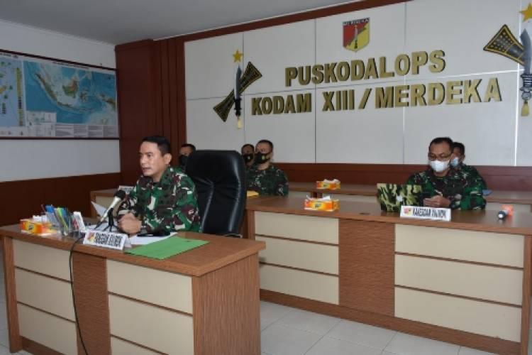 Jelang Vaksinasi Purnawirawan dan Warakawuri, Pangdam XIII/Merdeka Pimpin Rapat Teknis