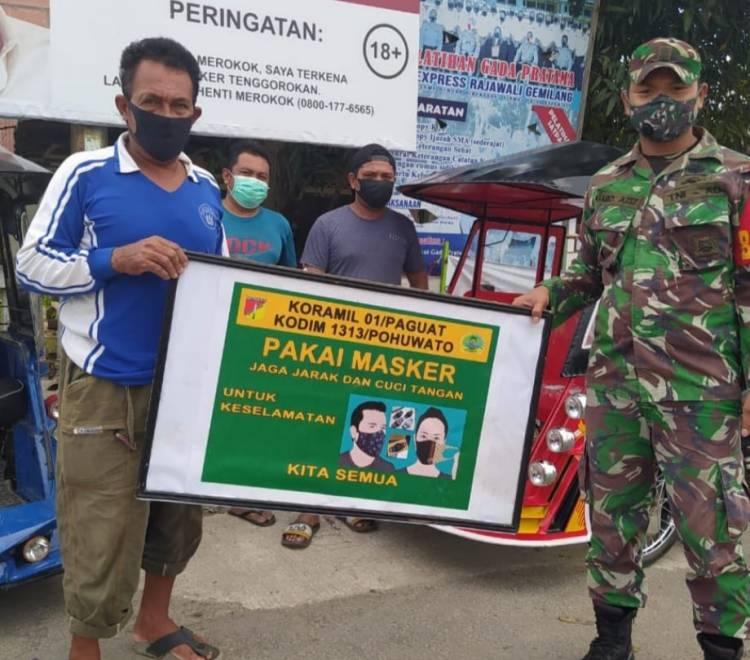 Sukseskan Penerapan PPKM, Jajaran Kodim 1313/Pohuwato Gencar Operasi Prokes