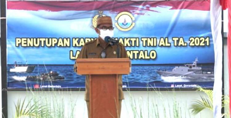 Sekdaprov Gorontalo Hadiri Penutupan Karya Bakti TNI AL