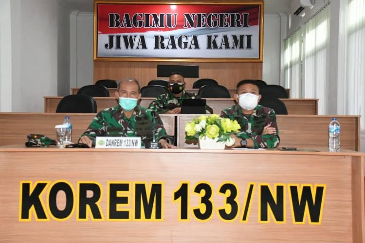 Rapat Forkopimda Provinsi Gorontalo Diikuti Danrem 133/NW Secara Virtual