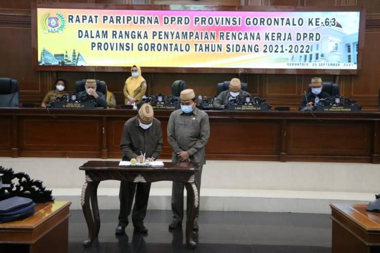 Deprov Gorontalo Menetapkan Rencana Kerja Tahun Sidang 2021-2022