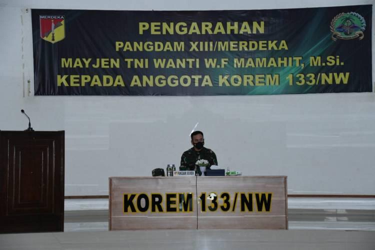 Kunker di Korem 133/NW, Pangdam XIII/Mdk: Jaga Harga Diri dan Nama Baik TNI